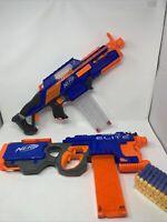 NERF Gun Lot - RAPIDSTRIKE CS-18 and HYPERFIRE ELITE - Clips 50 Darts Batteries