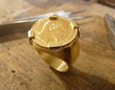 Chevalière or ronde avec pièce or 20 Francs Napoléon griffée avec douille