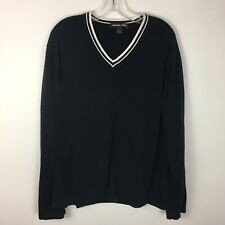 Michael Kors Men's Navy Blue Nautical V-Neck Pullover Sweater Size Large