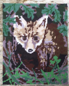Vtg Completed Hand Embroidered Penelope Tapestry Fox Cub