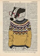 Badger Jumper Boy Dictionary Art Print Wall Vintage Picture Animal in Clothes
