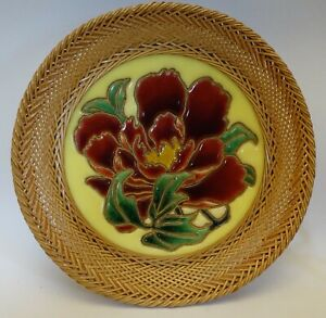 sh6 WIRELESS CLOISONNE COPPER ENAMEL FLOWER PLAQUE, Japan attrib. Ando Jubei