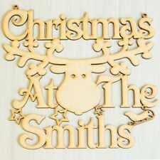 "Christmas At the ""Any Name"" Reindeer Plaque Rudolph Inspired Home Door Decor"