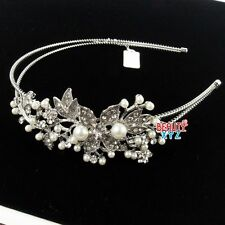 Bridal Jewelry Crystal Rhinestone Ivory Pearl Flower headband for Wedding/party