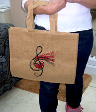 Jute Treble Clef Music Shopper Bag - Music Gift - Musical Shopping Bag