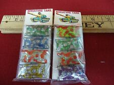 2 Packs of Vintage Tin Toy Miniture Tanks War Weapon Old Stock Dime Store Toy