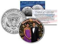 OBAMA CHRISTMAS Colorized JFK Kennedy Half Dollar U.S. Coin MICHELLE & Barack