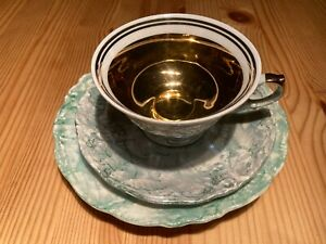 WALBRZYCH Porzellan ♛ Sammelgedeck 3tlg Kaffeetasse Bronze Grün Perlmutt * TOP