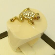 Ring Size 6.5 14k Yellow Gold Vintage 925 Sterling Silver Frog Resin