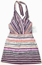 ATHLETA Women's Purple Orange Gray Sleeveless Performance Halter Top Size 4P NWT