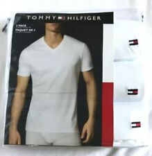 NEW! Tommy Hilfiger White V-Neck T-shirts Classic Fit 3 Pack Sz M MSRP $39.50