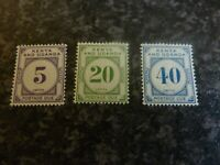 KUT POSTAGE DUE STAMPS SGD1,D3,D5 LIGHTLY MOUNTED MINT