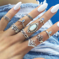 10Pcs/Set Retro Silver Boho Fashion Gem Moon Midi Finger Knuckle Rings Gift