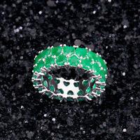 925 Silver Jewelry Heart Cut Green Emerald Women Wedding Party Ring Size 6-10