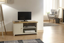 Cream Oak TV Stand Two Tone 1 Door Cabinet Television Unit Open Shelf Cable Tidy