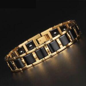Gold Titanium Steel Ceramic Germanium Magnetic Therapy Health Bracelet Men Women