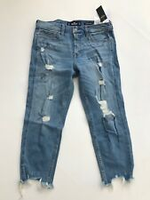 NWT Hollister Low Rise Boyfriend Crop Destroyed Jeans 9 R/ 29 Ripped Raw Hem $60