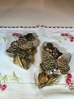 Vintage Miller Studio Chalkware Butterfly and Flower Wall Plaques, Set of 2