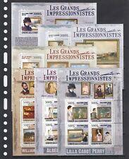 Painting Impressionism Art 2009 Comoros MNH 3 M/s + 3 S/s perf Wholesale lot