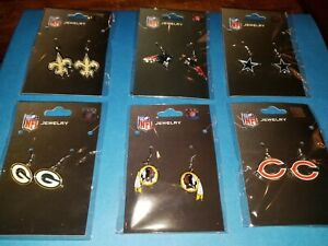 Trendy NFL Team Earrings With Colorful Logos - New Condition & Excellent Value!!
