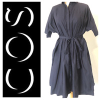 COS Plus Size Navy Smock Tunic Shirt Dress 100% Cotton Belt Buttons UP One Size?