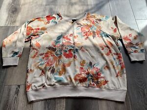 Torrid Size 3 Plus Size Ladies Sweatshirt Cream Coloured W/ Floral Prints EUC