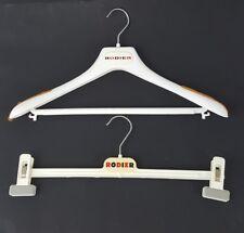 Rodier France Logo Vtg Lot 2 White Plastic Designer Suit Skirt Clothes Hangers