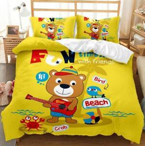 2/3Pcs Kids Cartoon Doona AU Quilt Duvet Cover Set Single Double Queen Size Bed