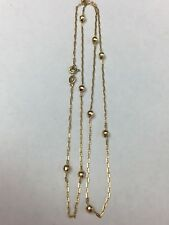"14k Yellow Gold 22"" Petite MARINER LINK With Beads Vintage Necklace"