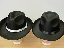 Black Gangster Blues Brother Hat 1920's Gatsby Bugsy Malone Al Capone Adult Size