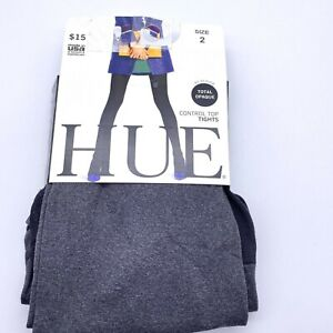 Hue Control top tights size 2 grey total opaque NEW Graphite heather