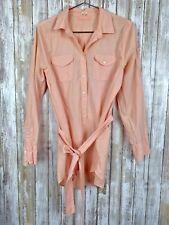 J. Crew Light Coral Orange Pink Beach Belted Tunic Pocket Top M Medium