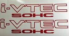 2x Red i-VTEC SOHC Vinyl Decal Stickers Emblem Honda Acura ivtec