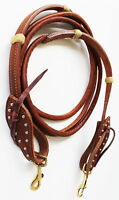 Horse  Western Amish Made Harness Leather Rolled Tie End Reins Brass 66RT13