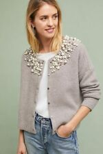NWT Anthropologie Faux Pearl Embellished Front Button Cardigan Sweater Moth XS