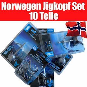 Jackson Profi Norwegen Jigkopf Set für Meeresangeln Gummifische. 10 Teile