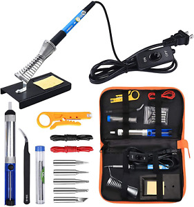 Anbes Soldering Iron Kit Electronics, 60W Adjustable Temperature Welding Tool, 5
