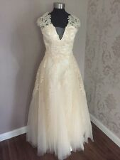 Champagne Lace & Tulle Petite Or Ankle Length Wedding/Prom Dress Size 10 (MC5)