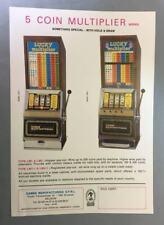 VTG SLOT MACHINE FLYER - LUCKY MULTIPLIER - GAME, S.P.R.L., BELGIUM, 1980s