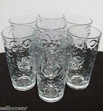 SET OF 7 PASABAHCE Vintage 8oz Tumbler Glasses Circle Ring Raised Dot Pattern
