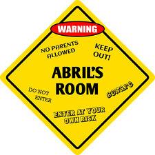 """*Aluminum* Abril's Room Kids Room Door 12""""x12""""  Metal Novelty Sign"""