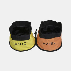 New Pet Life Dog Puppy Cat Portable Canvas Red Yellow Orange Water & Food Bowls