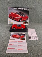 BBURAGO BURAGO KIT 5525 DODGE VIPER RT/10 1992 1/24 SCALE RED BOXED