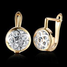 Women 18K Gold Filled Round Crystal Small Huggie Hoop Earrings Jewellery