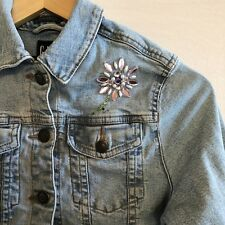 Gap Denim Jean Jacket Girls Large 10 Blue Beaded Flower Button Up Long Sleeves
