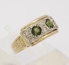 ♦♦ Ring in 14 kt 585er Gelb Gold mit Diamanten Turmalin Grün Turmalinring Gr. 58