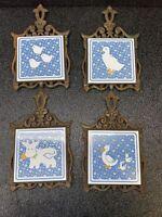 Vintage Cast Iron & Ceramic Tile Trivet Set Duck Ducklings Barnyard Darlin's