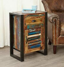 Agra reclaimed wood furniture one door one drawer lamp table