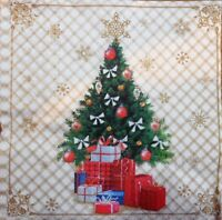 4 x SINGLE PAPER NAPKINS- CHRISTMAS TREE AND ORNAMENTS - DECOUPAGE AND CRAFT-82