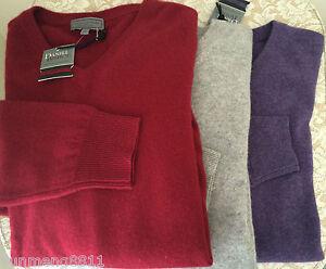 NWT Daniel Bishop 100% 2-ply cashmere sweater Men gray grey purple red $160